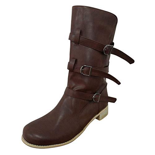Xuthuly Damenmode Cowboy Reitstiefel Damen Retro Einfarbig Große Mittelrohrstiefel Lässig Bequeme Low-Heel Zipper Schuhe