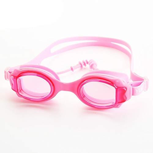 Kamiwwso Schwimmbrille Ohrstöpsel HD Antibeschlag-transparent Schwimmbrille für Jungen Mädchen Schwimmgeräte für Kinder Rose
