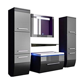 Badmöbel Set Badezimmermöbel Komplett Set Waschbeckenschrank Mit Waschtisch  Spiegel 2 Hochschränke Mit LED Hochglanz Fronten Schwarz