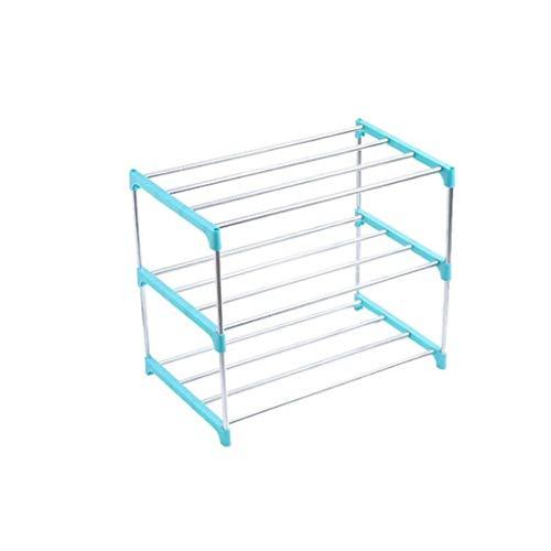 100% Metal 3-tier Shoe Rack,dauerhaft Eingangsbereich Lagerung Kleiderschrank Schuhregal Platzeinsparung Kompakt Regale Für Schuhe Aufbewahrungs-blau 47x26x38cm(19x10x15inch) - 3-tier Shoe Rack