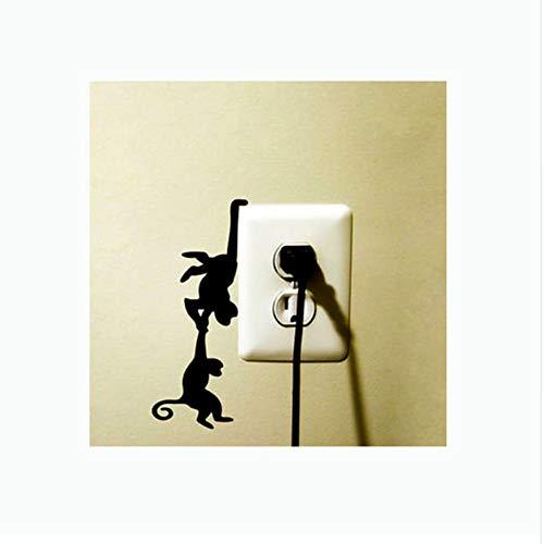 WFYY 3 stücke Wandaufkleber Sie Spielen Interessante Zwei Affen Schalter Aufkleber Dekorative Vinyl Wandaufkleber