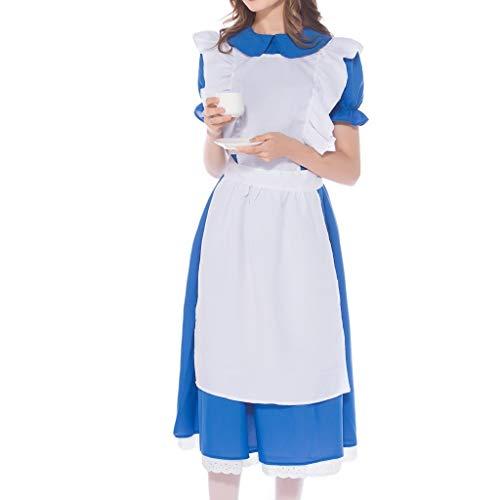 M Blau & Tank Kostüm M's Dress - Oktoberfest Kostüm für Damen Bayerisches Biermädchen Drindl Maxikleid Kleid + Kopfbedeckung + Spitzen Dirndlschürze Taverne Bar süße Maid Dress Cosplay Kostüme Kleider Bierfest (M, Blau)