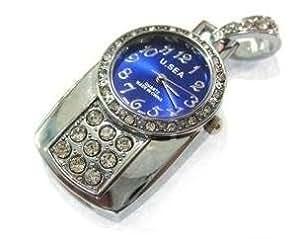 cle usb 32GO fun originale design fantaisie insolite - horloge pendule bleu retro