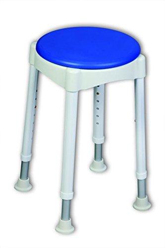 Duschhocker mit Softsitz | Badhocker | belastbar bis 150 kg | Ø 32 cm | 7 stufig verstellbar von 49-67 cm (Verstellbarer Duschhocker)