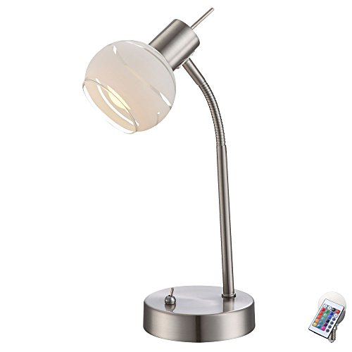 Lampe de table salon de lecture lampe boule en verre gradateur set télécommande incl. RGB LED lampes