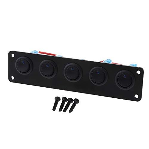 Multifunktionspanel 12-24 V 5 Gang Wippschalter Panel, Runde Dash LED Lichtleiste Schalter Panel Wasserdicht Professionelles Design for Auto RV Boot Yacht Marine - Rot Schalttafel für die Verwendung i -