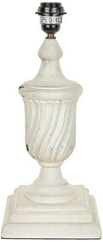 Better & Best 2811042 - lampe de table en bois en forme de coupe strié avec Base carrée, blanc