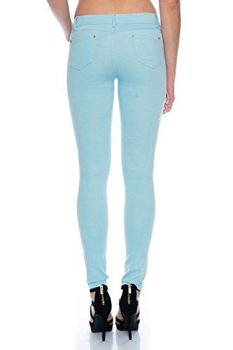 Modische bequeme Damen Jeggings Leggings Hüfthose Stretch Slimfit Hellblau