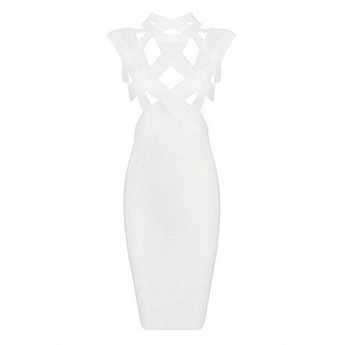 HLBandage Rayon Sleeveless High-necked Cut Out Midi Bandage Dress Bianco