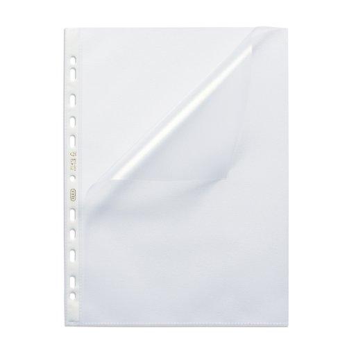 ELBA 100460992 Prospekthülle Premium DIN A4 100 Stück genarbt dokumentenecht blendfrei mit Universallochung Stärke 0,12 mm