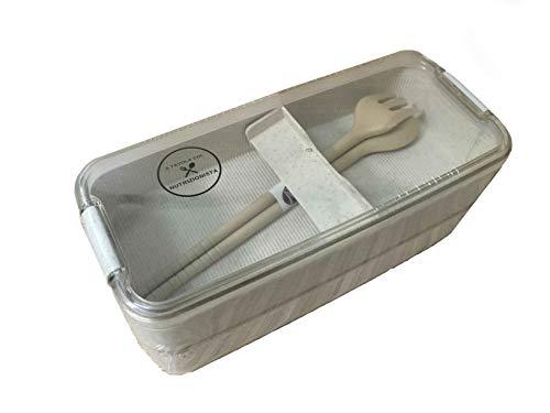 A tavola col nutrizionista porta pranzo schiscetta lunchbox per microonde due scompartimenti con posate - in materiale ecologico biodegradabile - lavabile in lavastoviglie - plastica vegan
