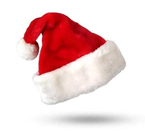 Weihnachtsmütze Nikolausmütze Plüsch rot-weiß mit dickem Plüschrand Santa Claus Mütze zu Weihnachten und Weihnachtsfeier X-Mas - Rote Plüsch Santa Kostüm