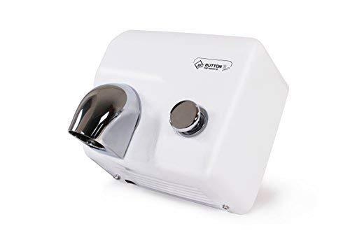 Schnelle Händetrockner mit Push Button Händetrockner, Leistungsstark, High Speed, Kompakt, Kommerziell, Schlüsselstart, Niedrige Betriebskosten, Heißluft-Händetrockner Jet Dryer Button, Weißes Eisen -