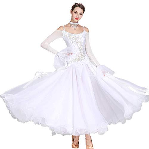 MoLi Damen Ballsaal Tanzwettbewerb Kostüm, Big Swing Strecken Walzer Tango Performance Kleid, Träger Erwachsene Prinzessin Dance Wear mit Strass (Irischen Tänzerin Kostüme)