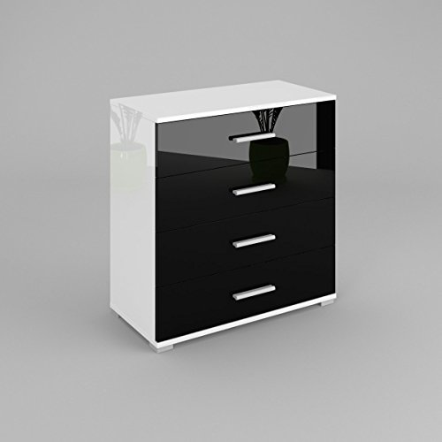 Labi BETI Meubles Commode Buffet BETI Corps : Blanc Brillant/façades : Noir brillant