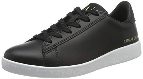 Armani Exchange Damen Action Leather Logo ax lace up Sneaker, Schwarz (Black 00002), 40 EU