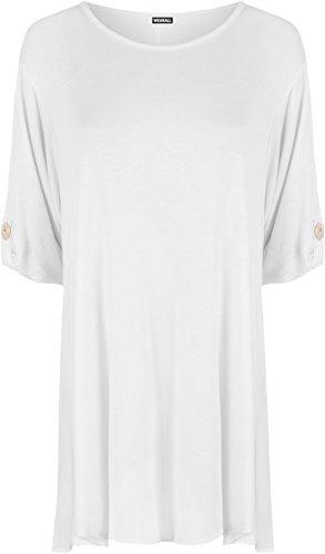 WearAll - Damen Ebene Wende Nach Oben Schaltfläche Kurz Hülle T-Shirt Strecke Top - Weiß - 52-54 (Ebene Weiß)