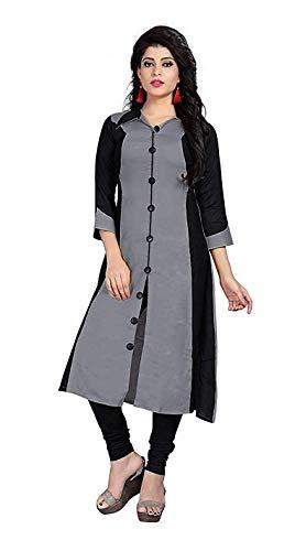 Laxmi Tex Women's Cotton Blend Semi-Stitched Kurti (Grey)