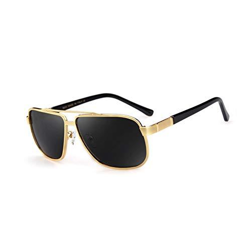 Thirteen Polarisierte Sonnenbrille Herren Metallspiegel Quadratischer Rahmen Fahrspiegel UV-Schutz Sonnenschirm Anpassbare Myopie Sonnenbrille (Farbe : Gold frame)