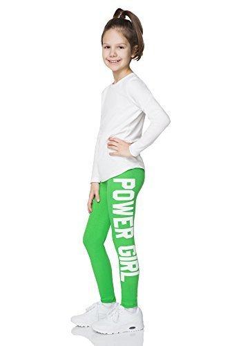Hi! Mom Power Girl Aufdruck Leggings volle Länge Baumwolle Jeggings für Kinder Alter 1-13 chpwg - Grün, 122-128 (Ob Grün)