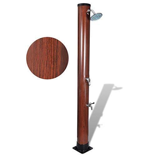 well2wellness Hochwertige Solardusche Gartendusche mit Holzoptik und 40 Liter Wassertank
