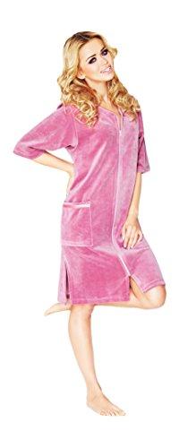 Damen Leichte Baumwolle Bademantel, Kurz Lange, Armel Und Reissverschluss Schliessen