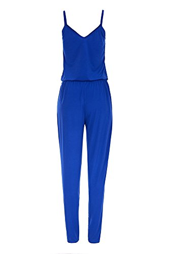 Laeticia Dreams Damen Träger Overall Hose Jumpsuit Catsuit Einteiler S M L XL Royalblau