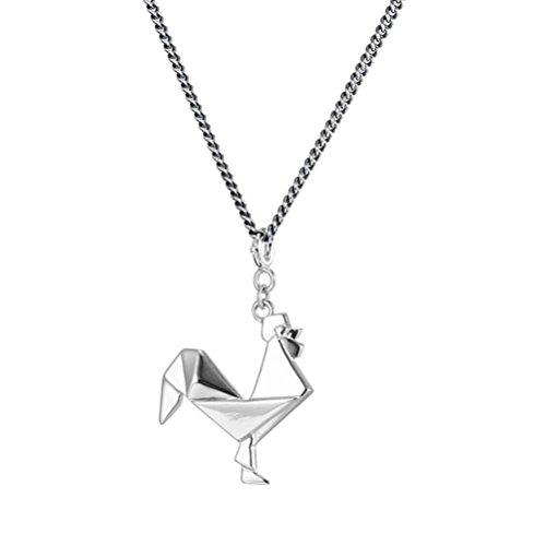 FlightShop Halskette Huhn Anhänger 925 Sterling Silber Halskette Schlüsselbein Kette Frauen Mode Temperament Schmuck Geschenke, Silber -