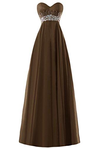 Gorgeous Bride Elegant Herz-Ausschnitt Empire Chiffon Lang Kristall Abendkleider Ballkleider Festkleider Braun