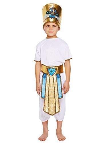 Jungen Ägyptischer Pharao Geschichte Buch Tag Kostüm Verkleidung Outfit Alter 4-12 Jahre - Weiß, 10-12 ()