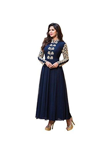 Sweetlook Blue Embroidered Georgette Anarkali Suit