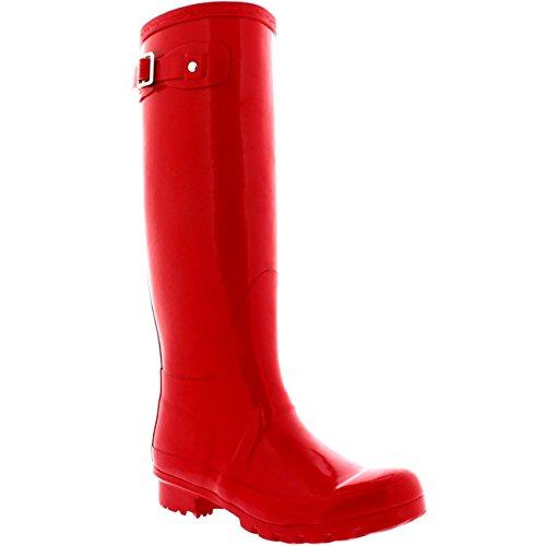 Femmes Grande Brillance Initiale Imperméable Botte De Caoutchouc Bottes Rouge
