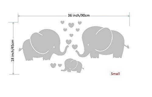 ße Elefanten, Eltern und Kind/Familie, mit Herzen, Wandsticker, für Baby, Kinderzimmer, grau, grau, S ()