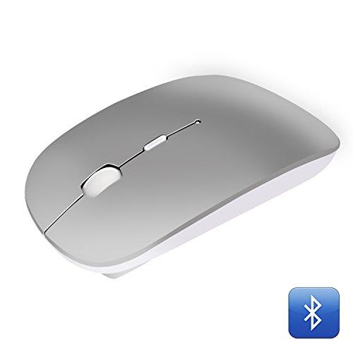 Bluetooth Maus Geräuschlos Kabellose Mouse, Tragbar Wireless Mäuse mit 1000/1400/1600 DPI Optional für PC Laptop iMac Macbook Microsoft Pro, Büro Zuhause- Grau