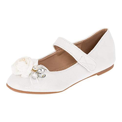 Edle Festliche Kinder Mädchen Prinzessinnen Schuhe Ballerinas mit Schnalle M518ws Weiß 31 EU