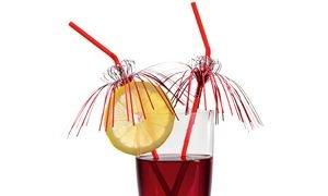 Susy tarjeta 11348539 - pajitas de beber, Glamour, 10 piezas, rojo/plata