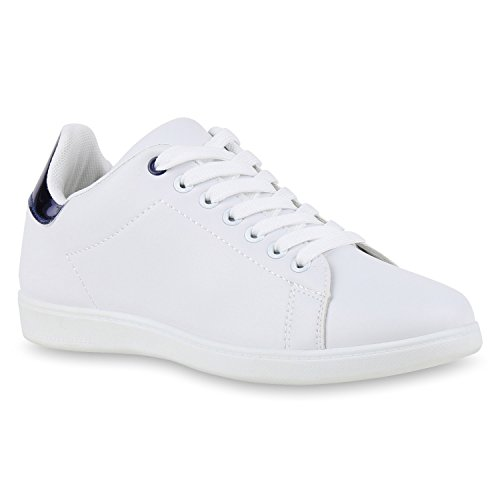 Sportliche Damen Sneakers | Sneaker Low Metallic Lack | Turnschuhe Muster Glitzer | Retro Flats Schnürer | Animalprints Veloursleder-Optik Weiss Blau Metallic