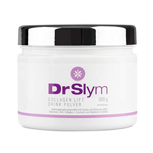 DrSlym COLLAGEN LIFT DRINK - Nahrungsergänzung für straffe, glatte Haut mit Vitamin A, Kollagen, L-Carnosin und Gojibeeren in der 300g Dose inkl. Portionslöffel, für 30 Portionen