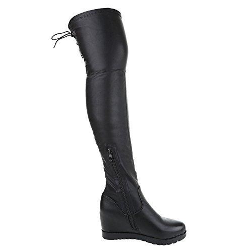 Zipper Salto Botas Femininos Preto Cunha Salto Coxa Clássico Cunha Sapatos Cunha De vwYdxE88q