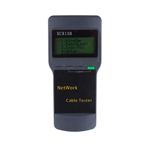 Kabel Prüfer Meter, ALLOMN Tragbar SC8108 RJ45 Netzwerk LAN Länge Kabel Prüfer Meter Telefonkabel Standort Prüfer Meter Messen