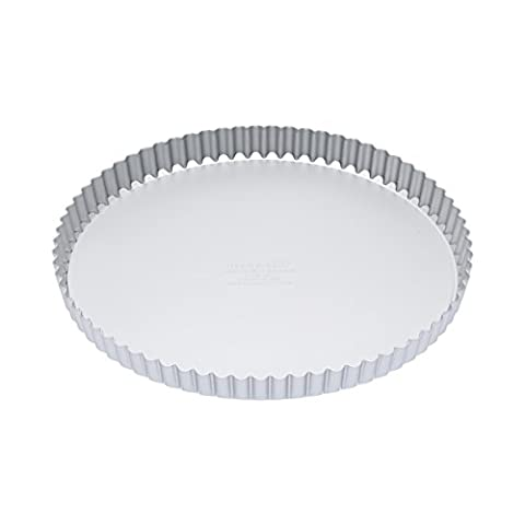 Master Class Silver Anodised Fluted Tart Tin / Quiche Pan With Loose Base, 28 cm (11) by KitchenCraft