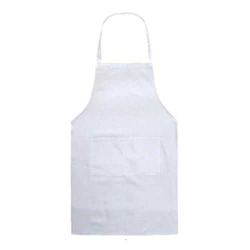 Highdas erwachsene Schürzen mit Taschen Unisex Küchen-Schürzen Wasser-beständiger Teller-waschender Chef-Koch Schürze Weiß