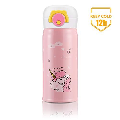 Unicornio Botella de Agua, Botella Para Niños Sin BPA Acero Inoxidable Regalo de Cumpleaños y Fiesta Cosas de Unicornios Botella Infantil (Rosa)