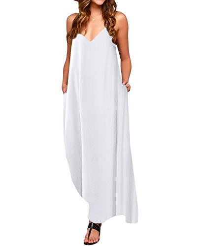 ACHIOOWA Femme Casual Robe sans Manches Col V Lâche Robe Longue Maxi à Bretelle de Plage Party Cocktail Blanc 2XL