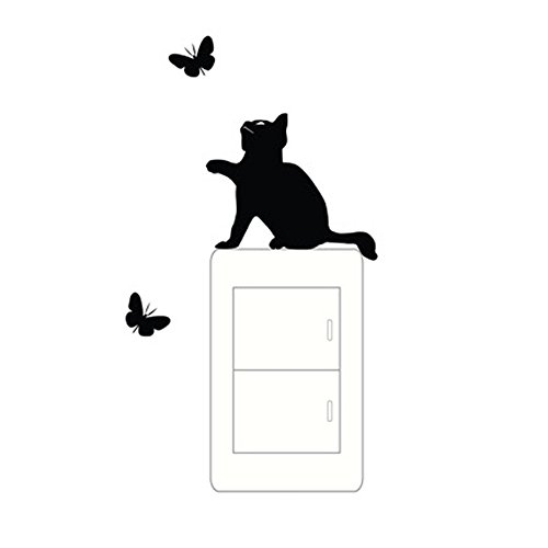 Price comparison product image KAKA Cheap Cute Lovely Black Cat Chasing Butterly Funny Wall Decal PVC Removable Light Switch Stickers G5007