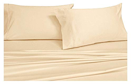 Infiniti Collection Bettwäsche-Set für Bettlaken, luxuriöse, weiche ägyptische Baumwolle, Fadenzahl 600, für 35,6-45,7 cm Tiefe Taschen, 4 Stück Traditionell King elfenbeinfarben -