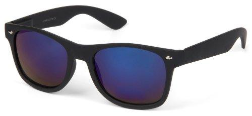 styleBREAKER lunettes de soleil style nerd à verres antireflet, design rétro classique, unisexe 09020039 Monture noire mate / verre bleu foncé