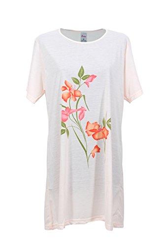 Pyjama Sleepshirt (Damen Nachthemd Schlafanzug Pyjama Sleepshirt Nachtwäsche Baumwolle (L 40 - 42, orange))