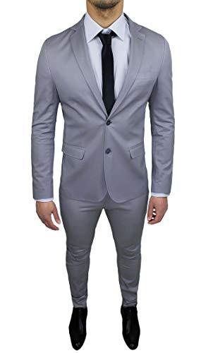 Abito uomo sartoriale grigio chiaro completo vestito slim fit made in italy cotone elegante e da cerimonia (50)