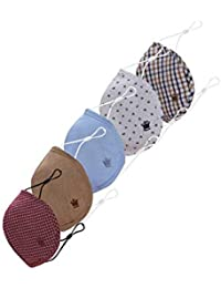 Louis Philippe Men's cotton Cloth Face Mask (Pack of 5) (LPMSMRGBX77084_ Assorted_ Large)